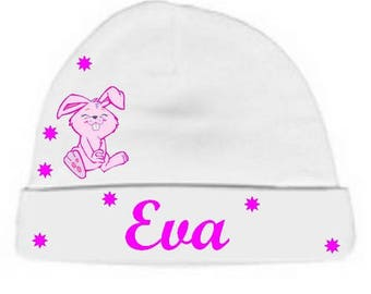 Personalized with name White Pink Bunny baby Hat