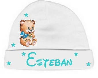 Personalized with name White Teddy bear baby Hat