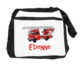 Personalized with name firetruck shoulder bag