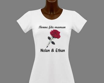 T-shirt women white mother's day personalized with name