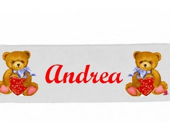 White girl Teddy bear personalized with name banner