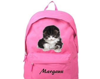 Backpack pink kitten personalized with name
