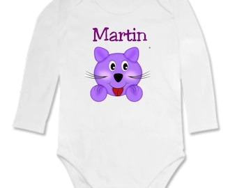 Personalized with name purple kitten Bodysuit