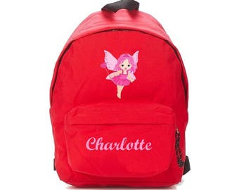 small fairy red backpack personalized with name