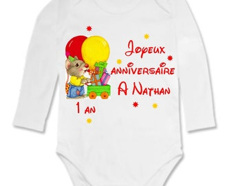 Bodysuit happy birthday... personalized with name