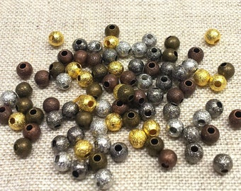 Set of 30 mixed color T27 - round metal beads