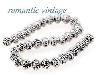 "20 antique silver metal beads, striped effect ""melon"" 5mm"