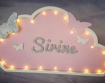 Custom text cloud Butterfly led Nightlight / personalized / name