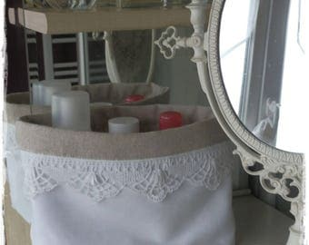 Vide poche en tissu coton et lin et dentelle