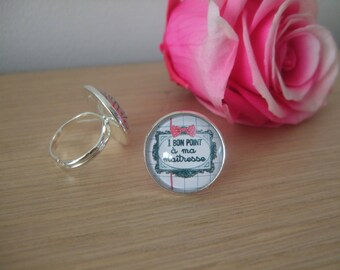 """Cabochon ring """"a good place for my teacher"""""""