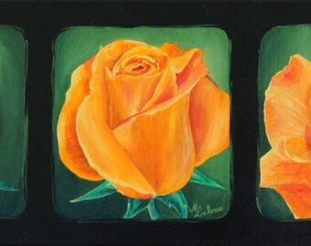 """FLOWERS - Acrylic painting on canvas triptych roses"""""""""""