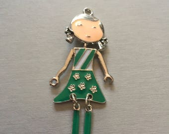 Green enamel articulated doll