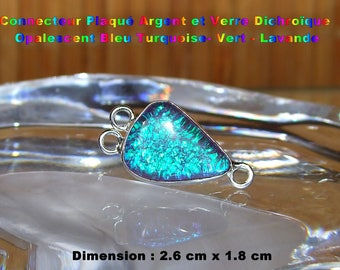 Glass silver plated connector dichroic Opalescent-Turquoise-green - Lavender 2.6 cm - #3