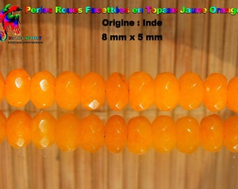 4 beads wheels faceted 8 mm x 5 mm Topaz - India - natural Grade A