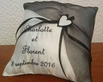 Personalized ring bearer cushion / ring pillow, black and white wedding