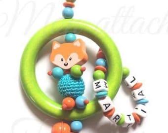 personalized rattle wood beads - Apple green Fox pattern