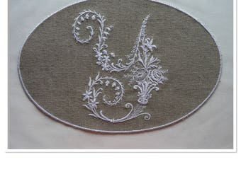 VICTORIAN in MEDALLION OVAL Monogram Letter Y embroidered on linen