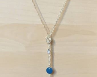 Necklace silver and blue jean