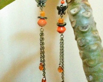 copper and orange earrings