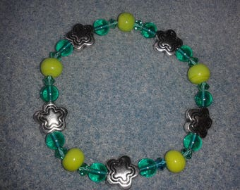 """Green and silver bracelet """"Forest walk"""""""
