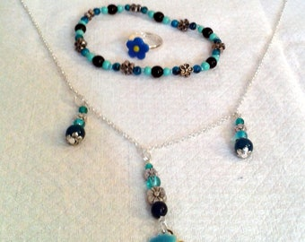 Set of girly blue turquoise and silver