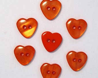 Set of 10 Orange - 001980 13mm heart buttons