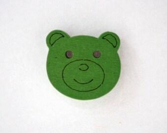Head of 18 mm x 10 wood bear buttons: Green - 001910