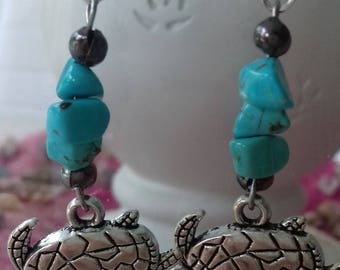 Turtle earrings with TURQUOISE stones