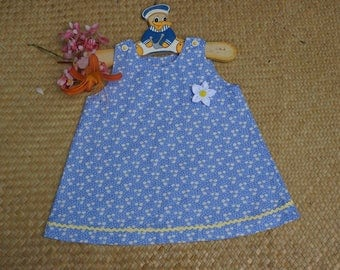 Blue printed dress with daisies, Liberty way for 3 years old