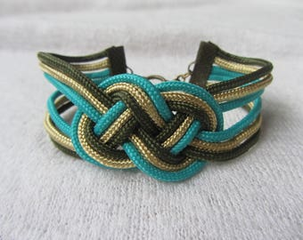 Sailor knot braided Paracord Cuff Bracelet turquoise blue, Golden beige and khaki green, bronze metal toggle clasp