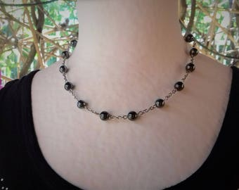 Stainless steel and hematite beads necklace