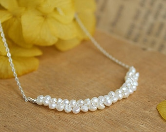 Small 2-3mm beads necklace has chain 925 sterling silver fresh water cultured