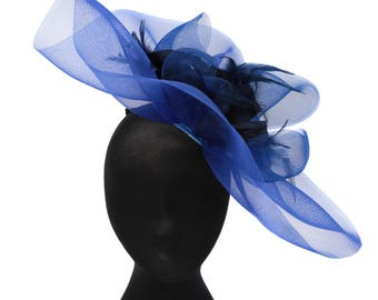 Blue fascinator, wedding hat, ascot hat, mother of the bride