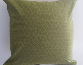 green pillow cover; vintage circles pattern