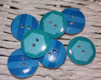 set of 7 blue and green wooden buttons