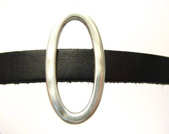 Interleave oval silver-plated leather 10 mm