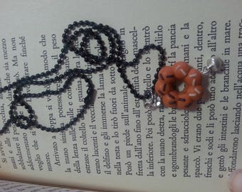 medium-long necklace with donut in fimo
