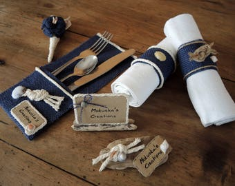 "Set of 6 cutlery ""Theme"" nautical burlap"
