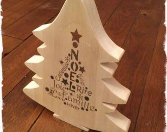 Sapin de Noël en bois chantourné à la main