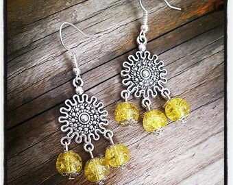 sleeper earrings silver and yellow beads