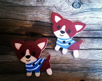set of 2 buttons in the brown/dogs Chihuahuas 29 x 27 mm