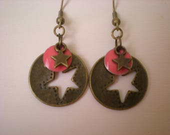 Coral pink sequins and bronze star earrings