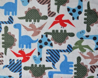 """P ' little DINO"" Michael Müller printed velvet minkee fabric"