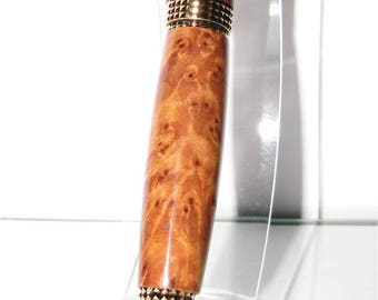 "The range ""Highline Cigar"" Gold Titanium wood ball point pen"