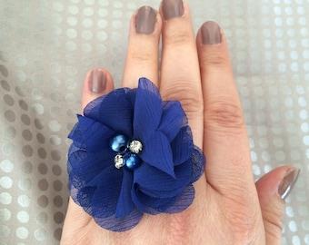Royal Blue chiffon flower ring
