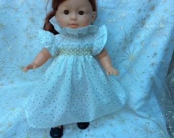 polka dots and smocked dress gold doll 36 cm