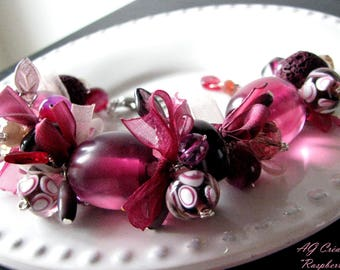 "This BRACELET pearls & Ribbon ""PASPBERRY & CINNAMON"""