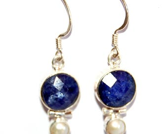Lapis Lazuli and pearls 925 Sterling Silver Stamp earrings