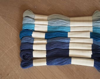 Shades of blue embroidery thread