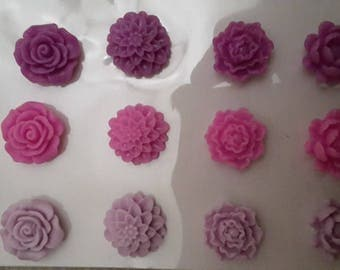 Purple resin stickers pink purple flowers